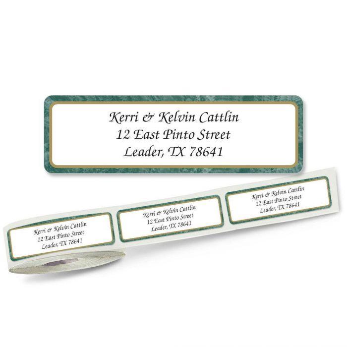 Green Border Rolled Return Address Labels