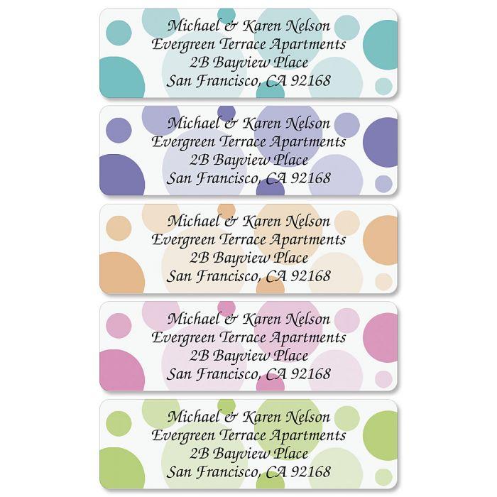 Polka Dots Rolled Return Address Labels  (5 Designs)