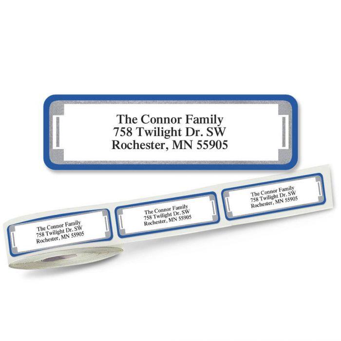 Blue and Silver Frame Rolled Return Address Labels