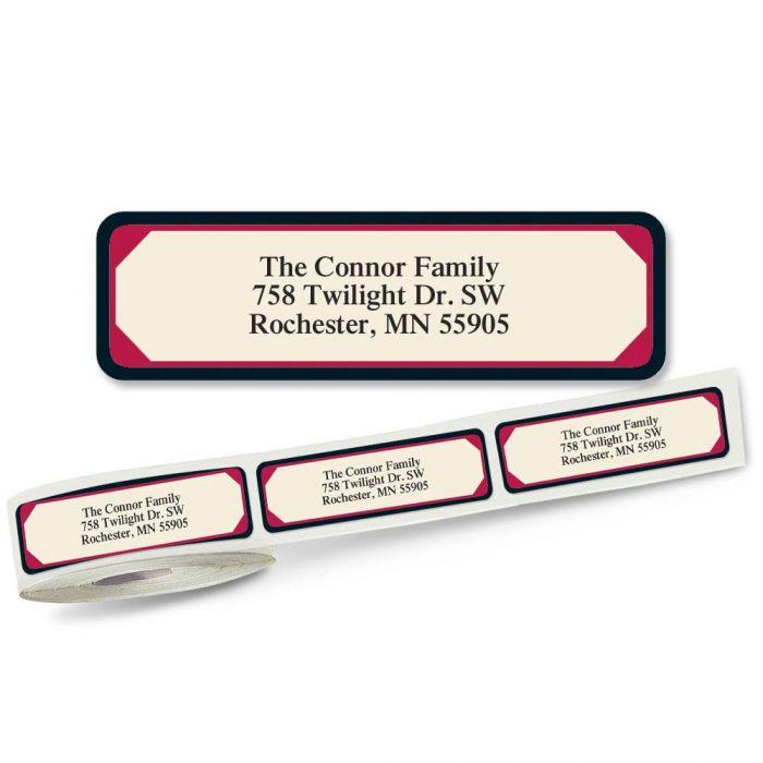 Red & Black Frame Rolled Return Address Labels