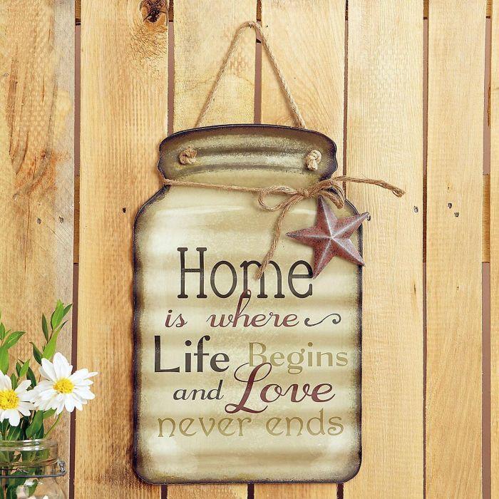 Home Tin Mason Jar Wall Sign