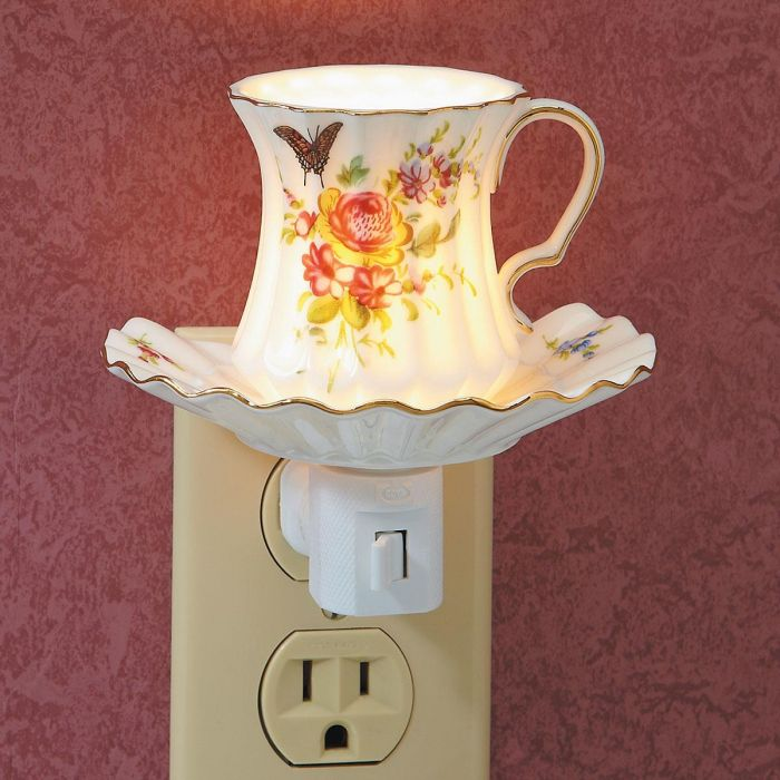 Rose Tea Cup Night Light