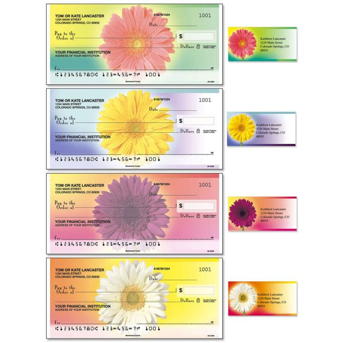 Illuminated Petals Single Checks With Matching Address Labels