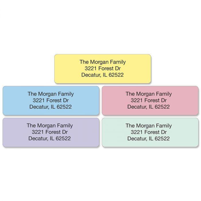 Pastel Rainbow Standard Rolled Return Address Labels (5 Colors)