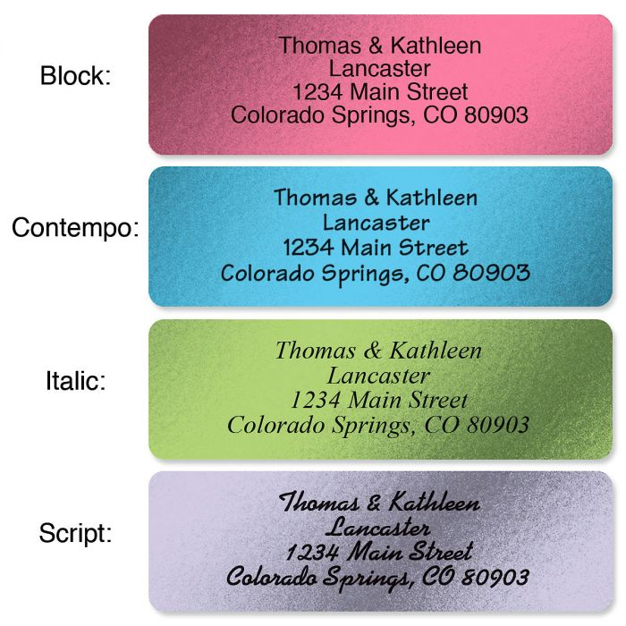 Metallic Rainbow with Symbol Standard Rolled Address Labels