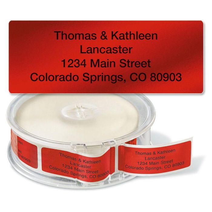 Red Foil Rolled Return Address Labels