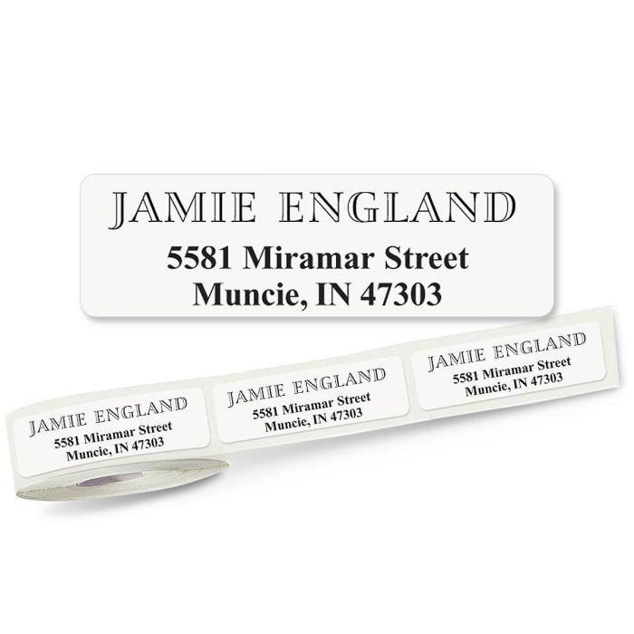 Outline Font Front & Center, Unlined Rolled Address Labels