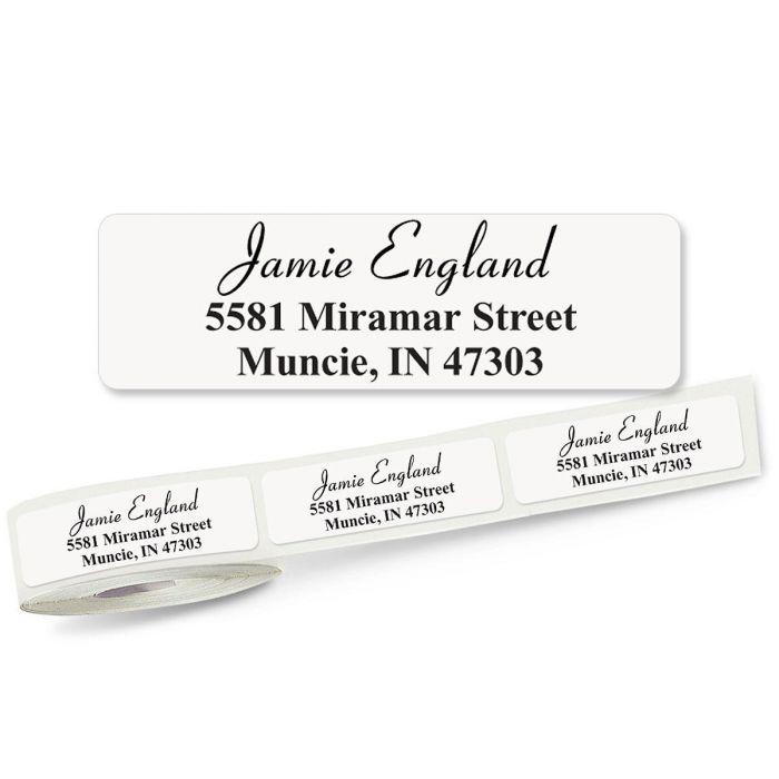 Elegant Font Front & Center, Unlined  Rolled Address Labels