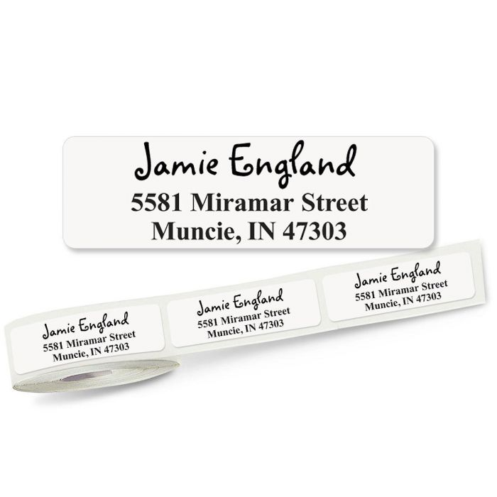 Whimsical Font Front & Center, Unlined  Rolled Address Labels