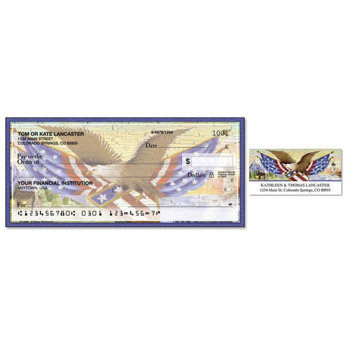 American Eagle Single Checks With Matching Address Labels