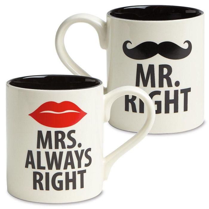 Mr. & Mrs. Right Novelty Mugs