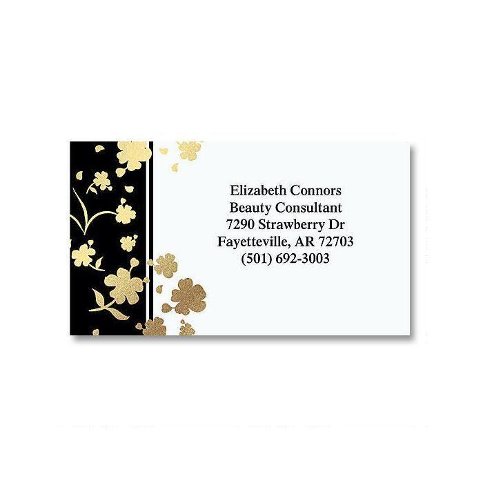 Gold Floral Elegance Foil Business Cards