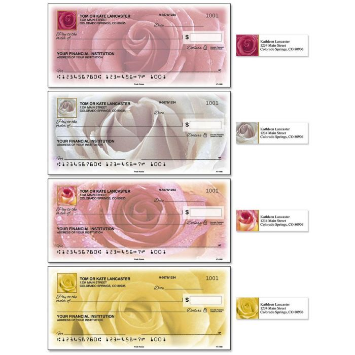 Fresh Roses Single Checks With Matching Address Labels