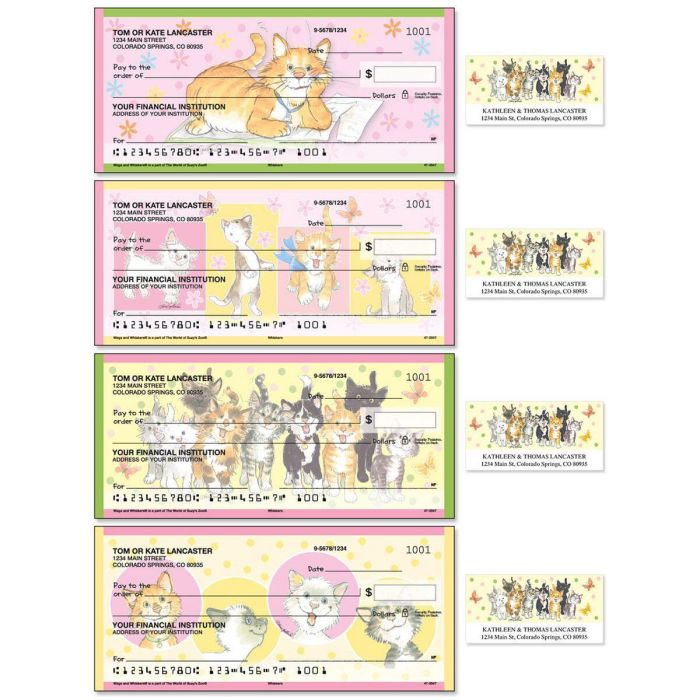 Whiskers Single Checks with Matching Address Labels
