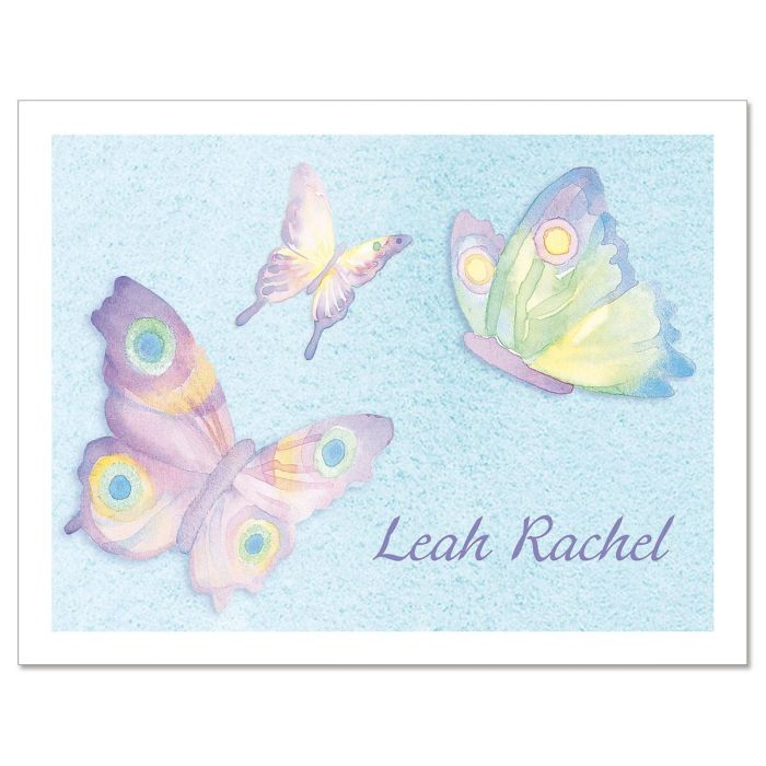 Watercolor Wings Custom Note Cards