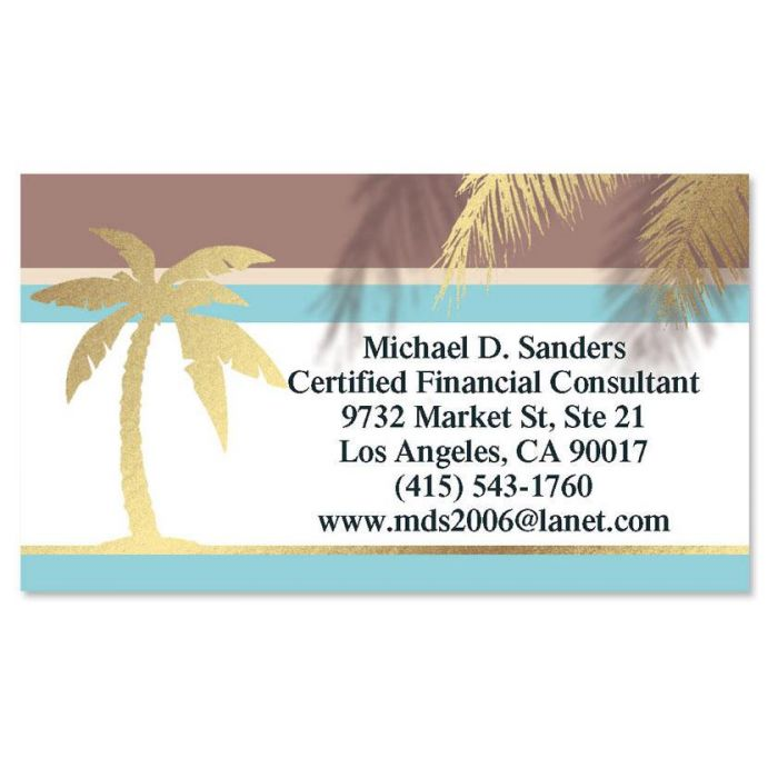 Golden Palms  Foil Business Cards