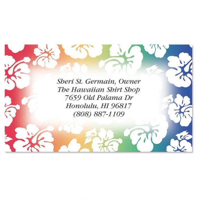 Hawaiian Print Business Cards | Colorful Images