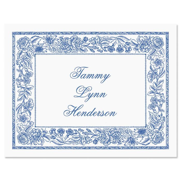 Blue Toile  Custom Note Cards