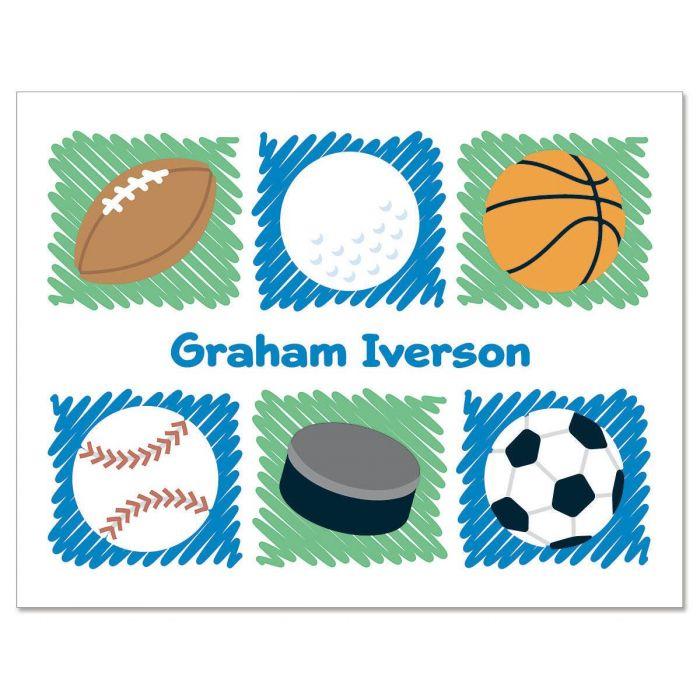 Sports Balls Custom Note Cards