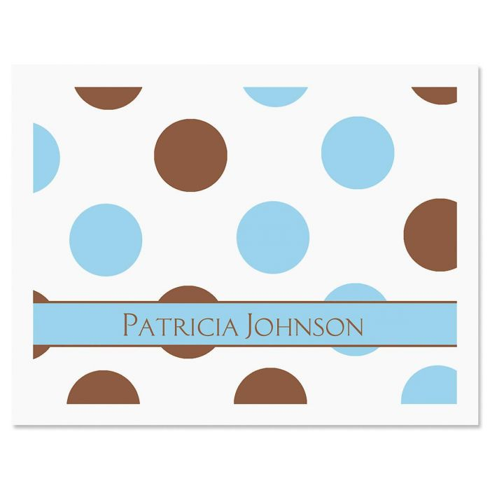 Blue & Brown  Personalized  Note Cards
