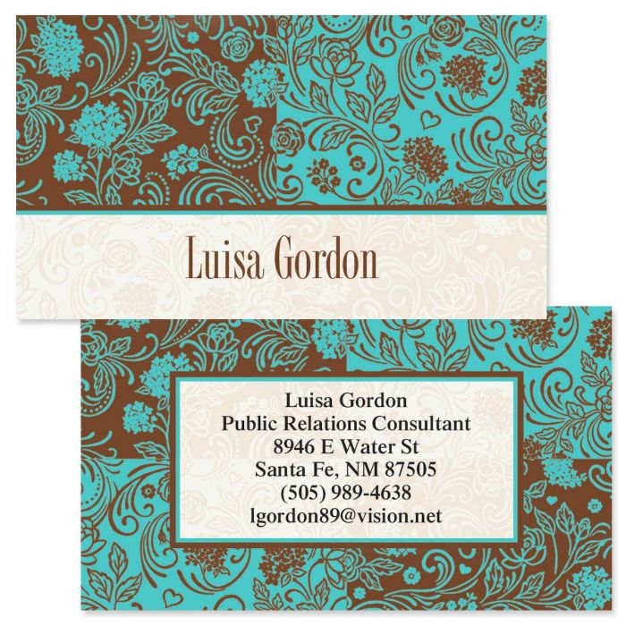 Aqua & Chocolate Double-Sided  Business Cards