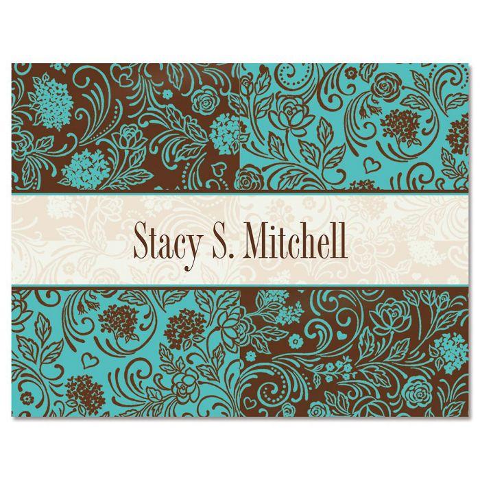 Aqua & Chocolate Custom Note Cards