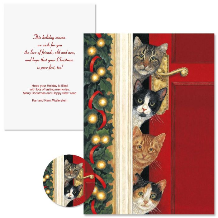 Whiskered Welcome Non-Personalized Christmas Cards | Colorful Images