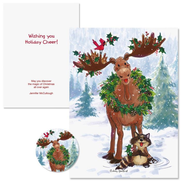 Merry Christmas Moose Christmas Cards -  Nonpersonalized
