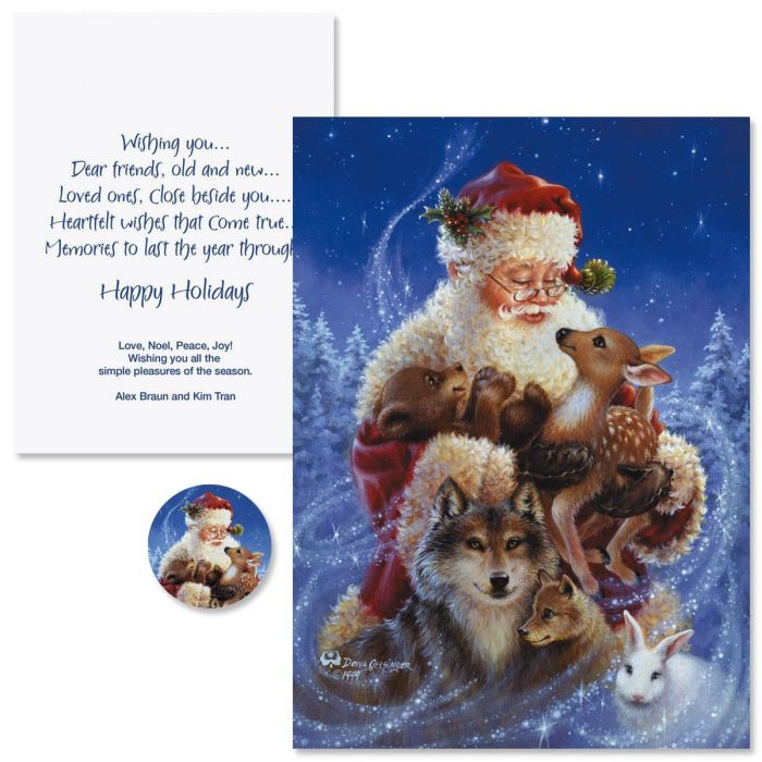 Santa's Friends Christmas Cards -  Personalized
