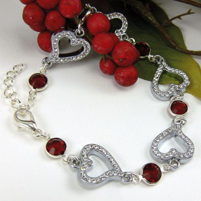Birthstone Crystal Heart Bracelet