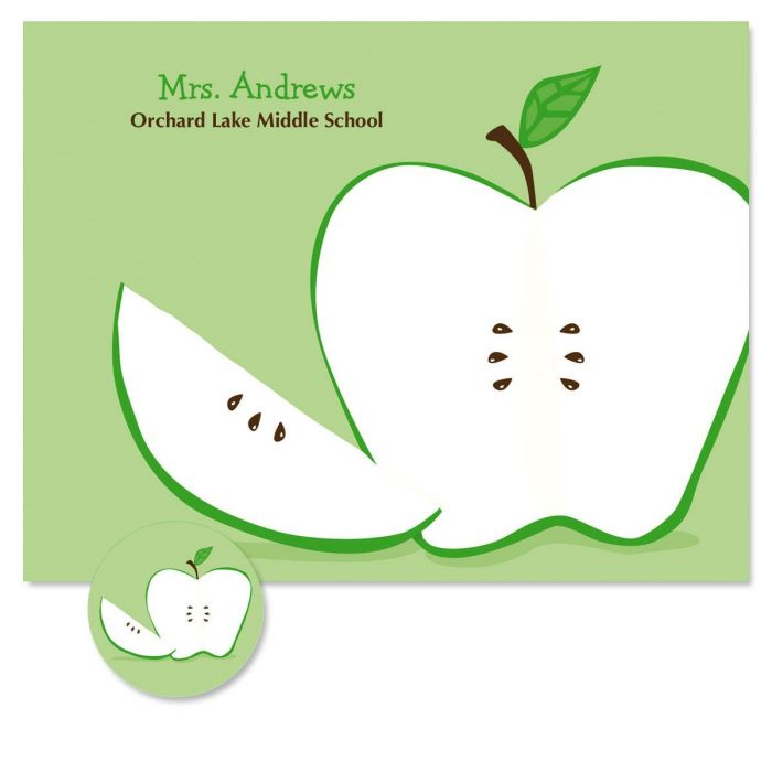 Green Apple  Custom Note Cards