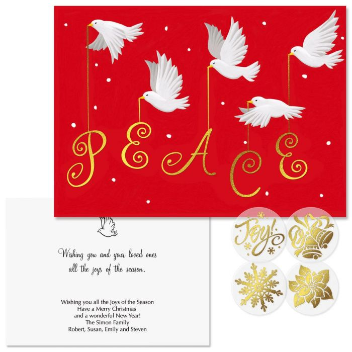 Peace Foil Christmas Cards -  Personalized