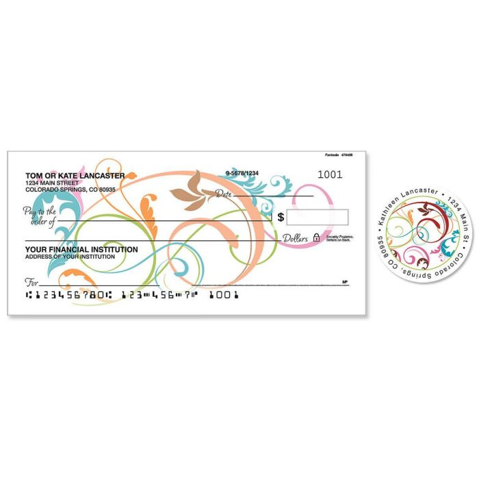 Fantasia Single Checks with Matching Address Labels