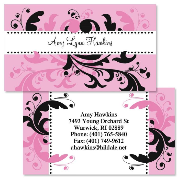 Pink & Black Swirl  Double-Sided  Business Cards