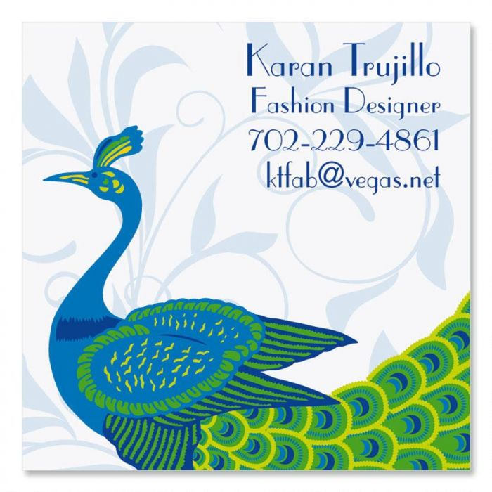 Peacock Luxe Square Business Cards