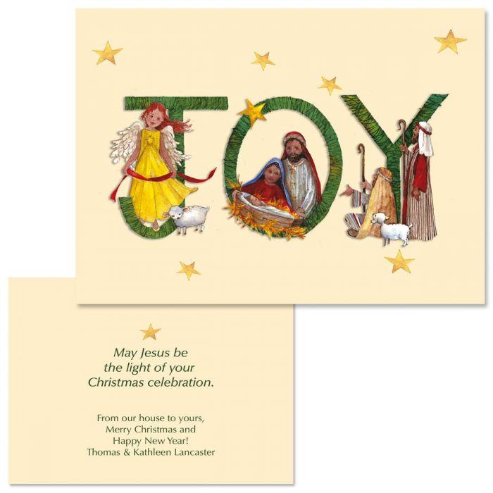Joy Nativity  Note Card Size  Christmas Cards