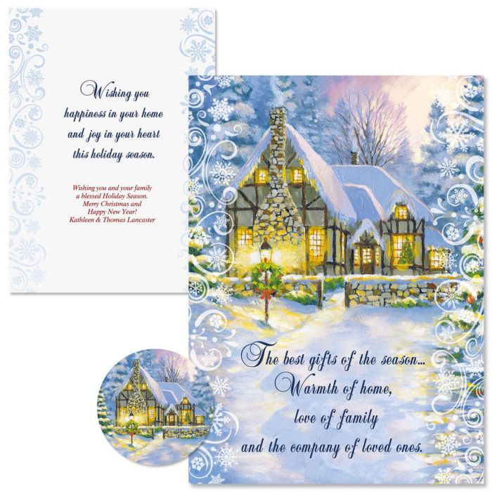 Snowy Cottage Christmas Cards -  Personalized