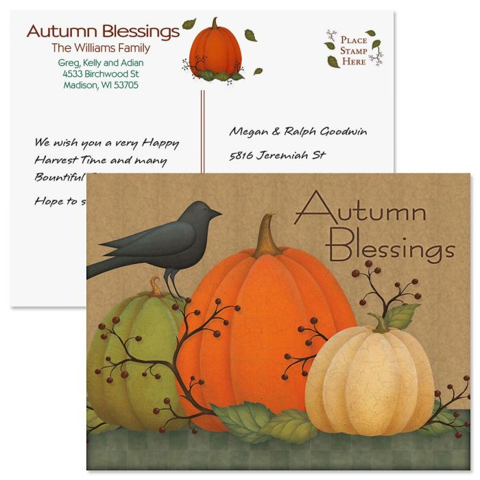 Autumn Blessings Postcard