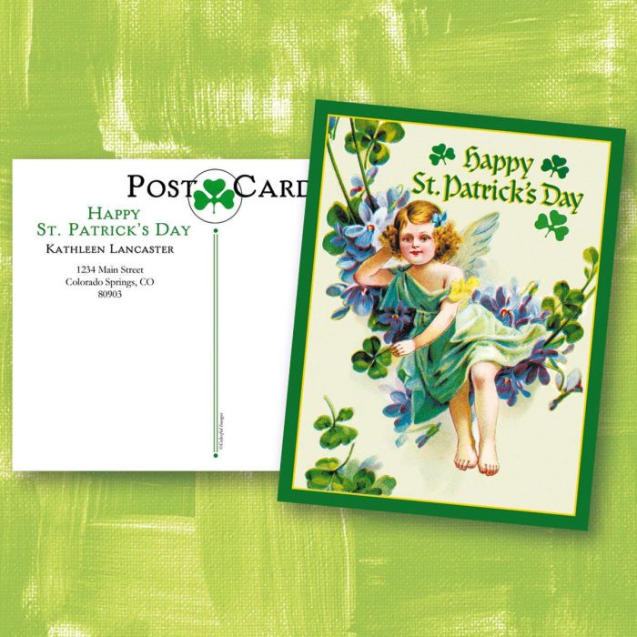 St. Patrick's Day Personalized  Victorian Postcard