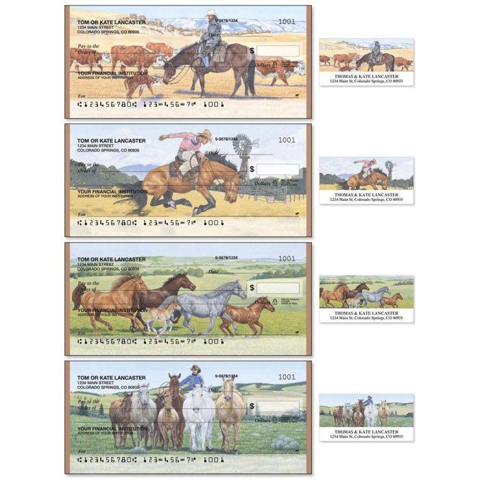 Cowboy Single Checks With Matching Address Labels