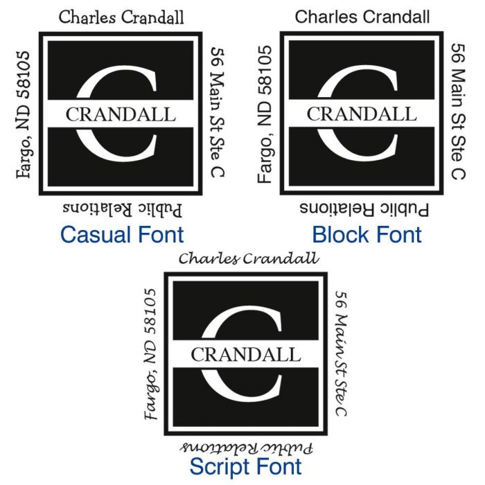 Front & Center Square Address Stamp