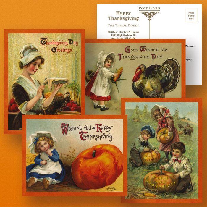 Victorian Thanksgiving Postcards  (4 Designs)