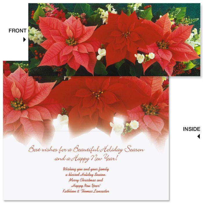 Poinsettia Trio Slimline Holiday Cards