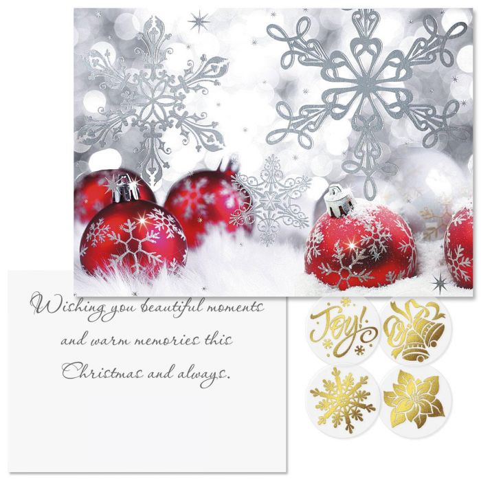 Silver Shimmer Foil Christmas Cards -  Nonpersonalized