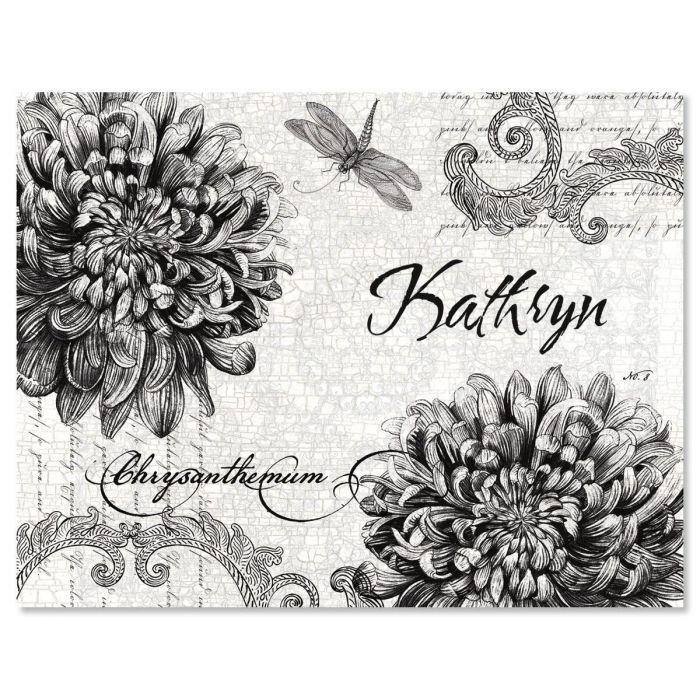 Botanical Black & White Custom Note Cards