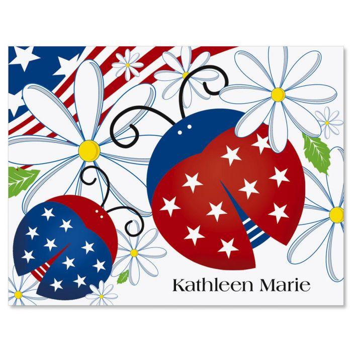 Patriotic Ladybug Custom Note Cards