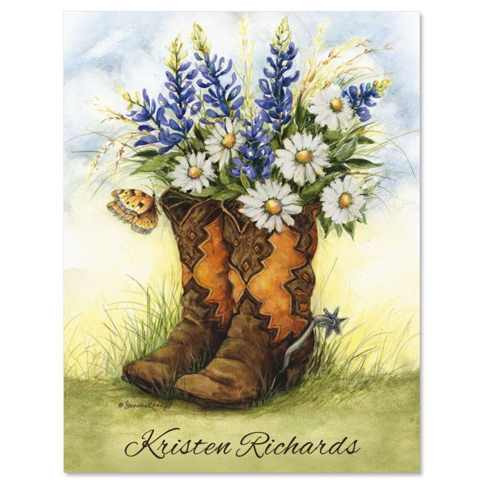 Country Boots Custom Note Cards