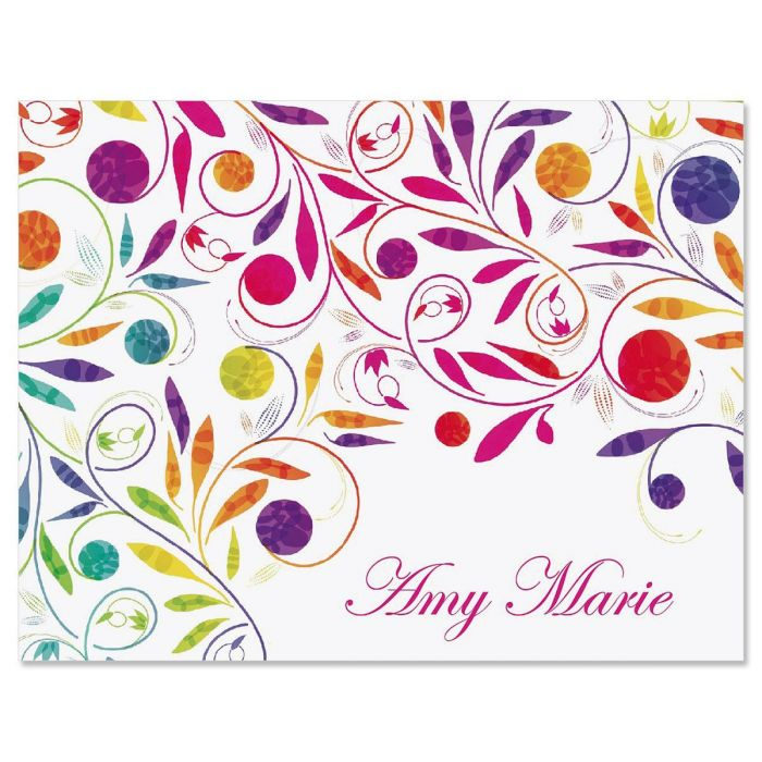 Color Swirl Custom Note Cards - Set of 12