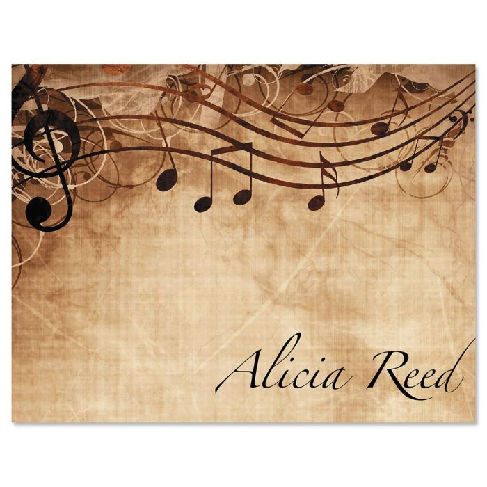Sheet Music Personalized Note Cards - Set of 12