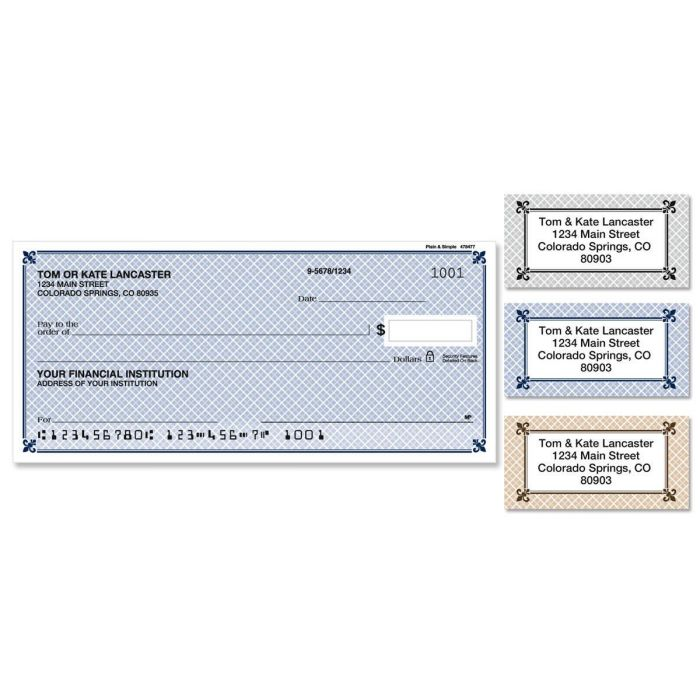 Plain & Simple Single Checks With Matching Address Labels